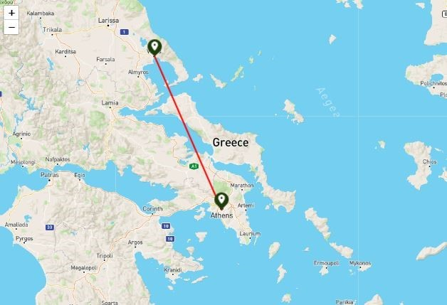 Athens Volos straight line distance